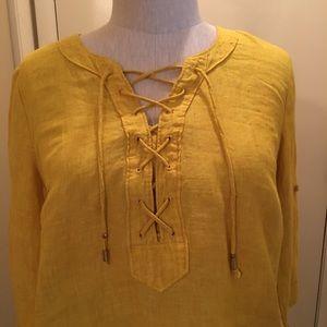 Maeve Anthropologie Mustard Yellow Linen Top
